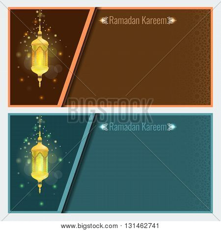 Ramadan kareem greeting card design template with light effect and lamp. Vector Flyer or brochure design with Particle star light effect and ornament background