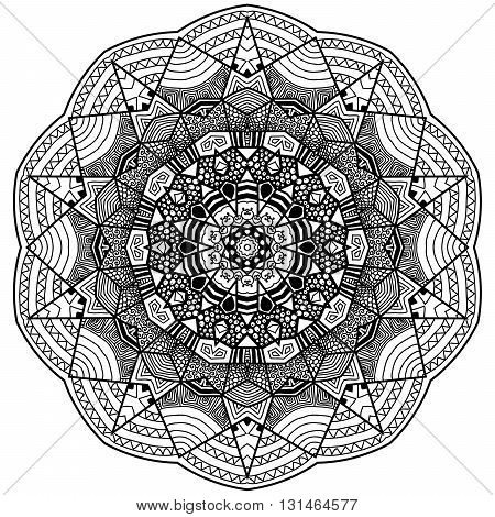 Mandala in zentangle style. Hand drawn mandala with hand drawn patterns. Zentangle is self soothing activity.