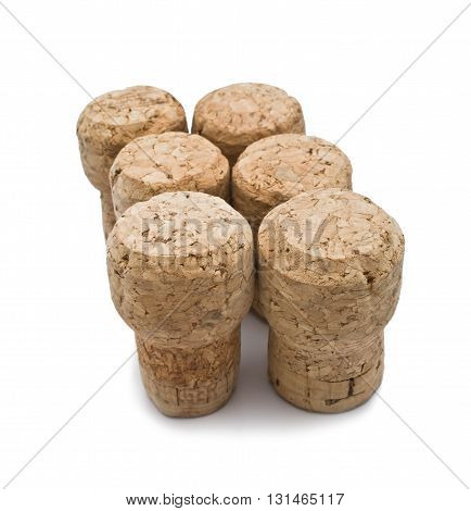 Several corks closeup isolated on white background