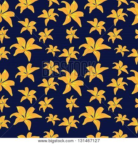 Yellow Flowers On Dark Blue Background
