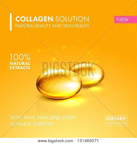 Gold oil collagen capsule, healthy dietary supplement product concept. Vector collagen pill illustration