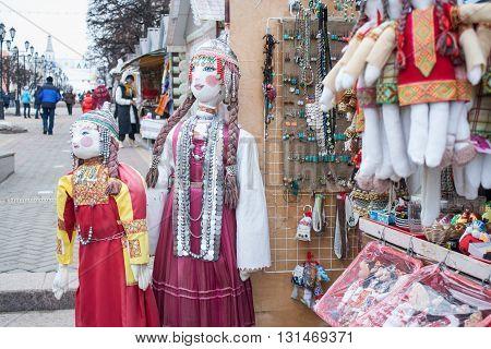 National costume around the counter located on the Arbat Cheboksary
