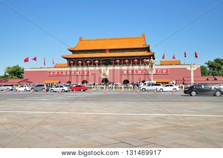 BEIJING CHINA - SEPTEMBER 30 2012: The Forbidden city seen from Tiananmen square. Tiananmen Square is a large city square in the centre of Beijing China.
