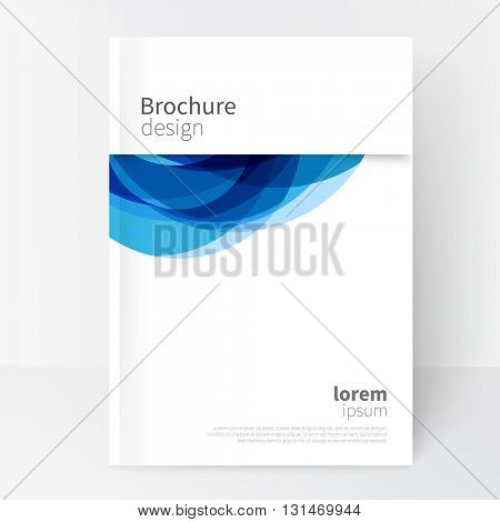 White Business Brochure, Annual Report, Leaflet Cover Template. Geometric abstract background Blue circles intersecting. concept cover design.