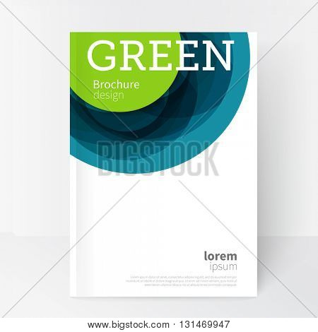 White Business Brochure, Annual Report, Leaflet Cover Template. Geometric abstract background green and blue circles intersecting. concept creative cover brochure design. eps.10