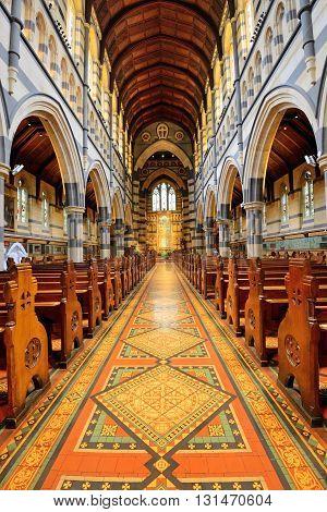 MELBOURNE AUSTRALIA - OCTOBER 25 2015: Interior design of St. Paul's Cathedral St. Paul's Cathedral is a cathedral church of the Anglican Diocese of Melbourne Victoria in Australia.