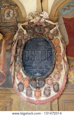 BOLOGNA, ITALY - JUNE 04: Epitaph from External atrium of Archiginnasio, on June 04, 2015