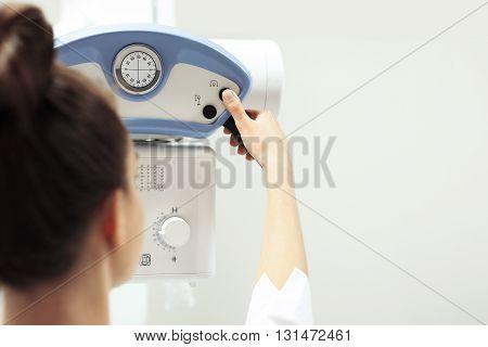 Hospital ward, gastroenterologist preparing the study .