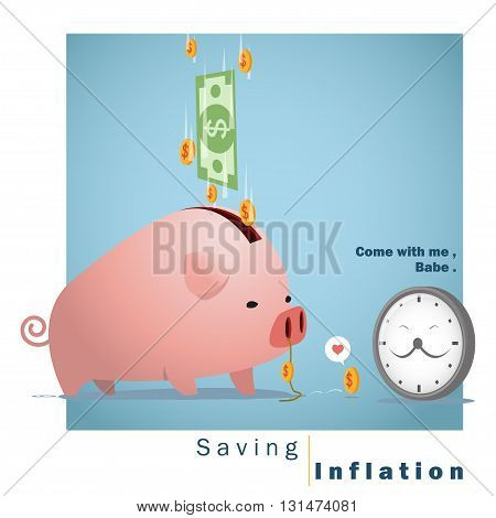 Business concept Idea  Saving and Inflation ,vector,illustration