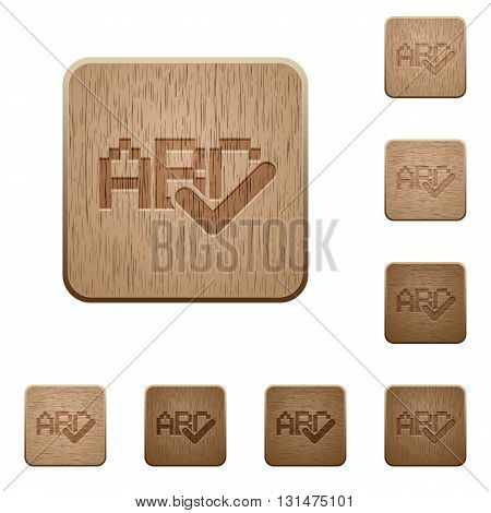 Set of carved wooden spell check buttons in 8 variations.