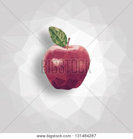 Digital low polygon apple with gray background and red color