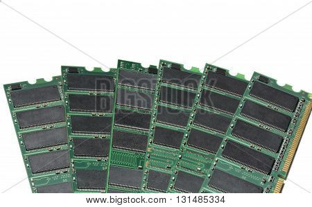 Stack of various RAM modules isolated on white backgound