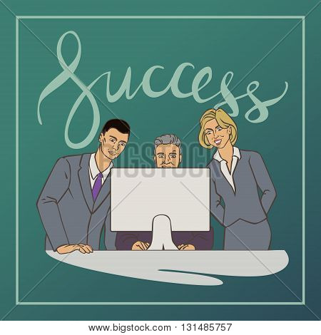 Vector illustration with groupe of office people who watching at computer with vintage lettering word success