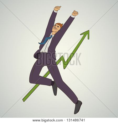 Vector illustration with man jumping up and happy