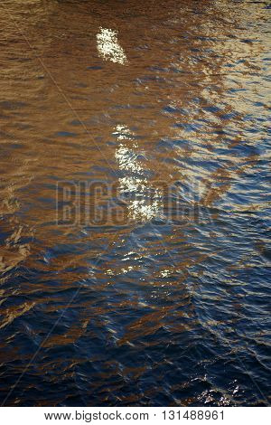 The fluctuations of light on the water surface of a water channel.