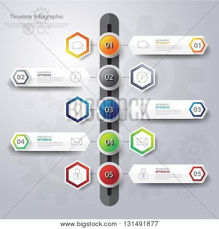Business Timeline. Can Be Used For Workflow Layout, Banner, Diagram, Web Design, Infographic Templat