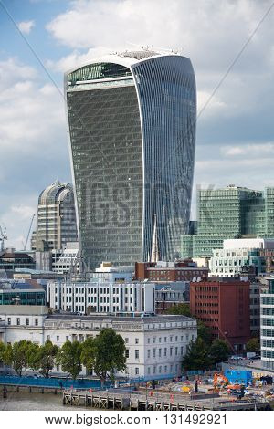 LONDON, UK - SEPTEMBER 19, 2015:  City of London Walkie-Talkie building