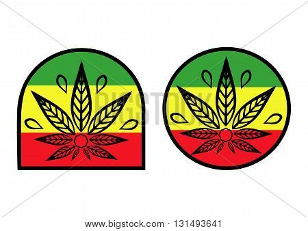 Cannabis logo. Hemp background simple icons on rastaman flag.