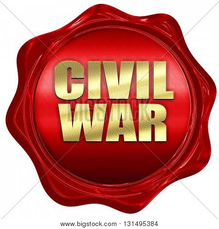 civil war, 3D rendering, a red wax seal