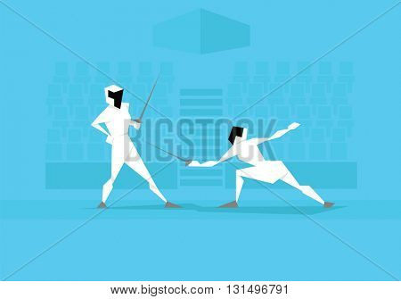 Illustration Of Two Female Fencers Competing In Event