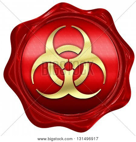 Bio hazard sign on a grunge background, 3D rendering, a red wax