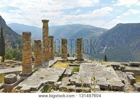 The Temple of Apollo in Ancient Greek archaeological site of Delphi,Central Greece