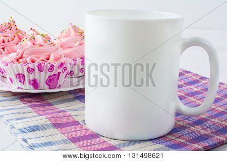 Coffee mug mockup with checkered napkin. White mug mockup. Mug Product Mockup. Styled mockup. Product mockup. White cup mockup. Cup mockup. Empty Mug Mockup. Blank mug.