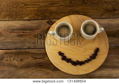 Funny coffee break concept on wooden background. Coffee cup. Coffee mug. Morning coffee. Cup of coffee. Coffee break. Strong coffee.