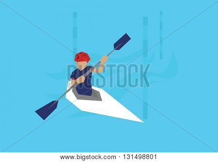 Illustration Male Canoeist Competing In Kayak Event