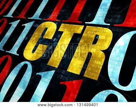 Business concept: Pixelated yellow text CTR on Digital wall background with Binary Code