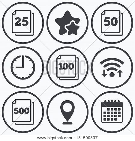Clock, wifi and stars icons. In pack sheets icons. Quantity per package symbols. 25, 50, 100 and 500 paper units in the pack signs. Calendar symbol.