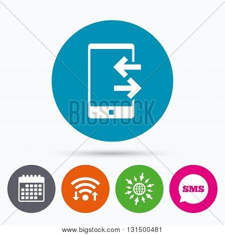 Wifi, Sms and calendar icons. Incoming and outcoming calls sign icon. Smartphone symbol. Go to web globe.