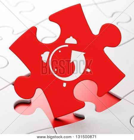 Time concept: Alarm Clock on Red puzzle pieces background, 3D rendering