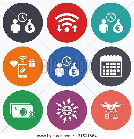 Wifi, mobile payments and drones icons. Bank loans icons. Cash money bag symbols. Borrow money sign. Get Dollar money fast. Calendar symbol.