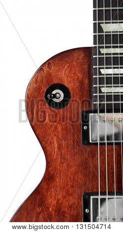 Toggle switch and neck of brown electric guitar, isolated on white