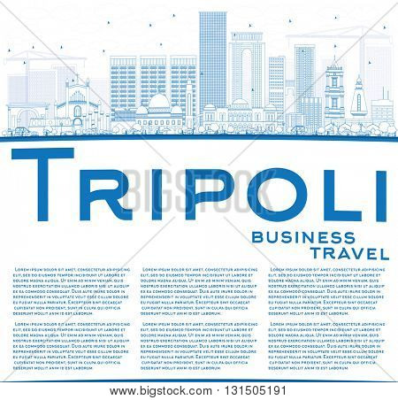 Outline Tripoli Skyline with Blue Buildings and Copy Space. Vector Illustration. Business Travel and Tourism Concept with Historic Buildings. Image for Presentation Banner Placard and Web.