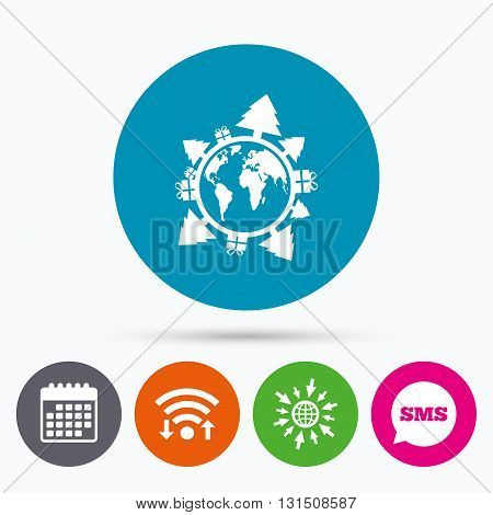 Wifi, Sms and calendar icons. Happy new year earth sign icon. Gifts and trees symbol. Full rotation 360. Go to web globe.