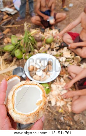 fresh of coconut with shelling coconuts background