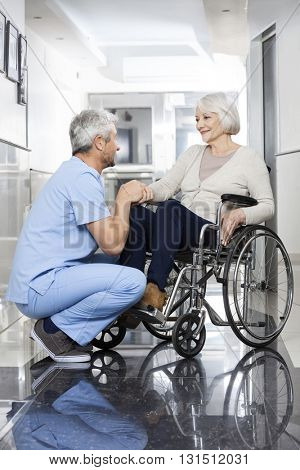 Physiotherapist Holding Senior Patient's Hand On Wheelchair