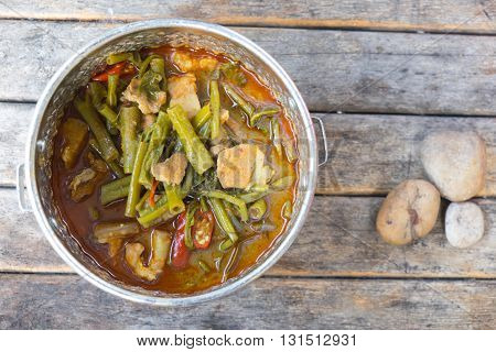 Pork curry with water spinach (Tae-pho soup) in tiffin carrier