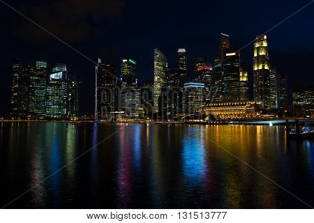 Singapore - 2016 January 16: Cityscape of the Marina Sands Bay hotel, museum at night outdoors on 16 January 2016 in Singapore