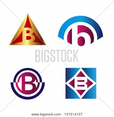 Set of alphabet symbols and elements of letter B, such b logo