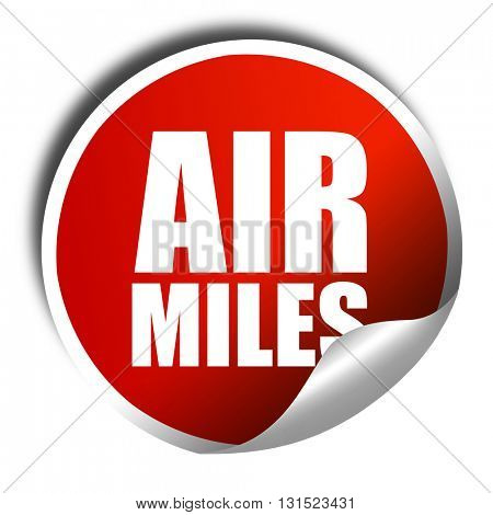 air miles, 3D rendering, a red shiny sticker