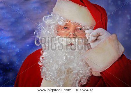 Christmas theme: Santa Claus, snowy design.