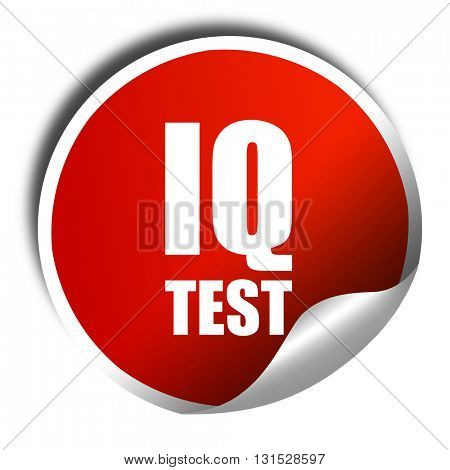 iq test, 3D rendering, a red shiny sticker