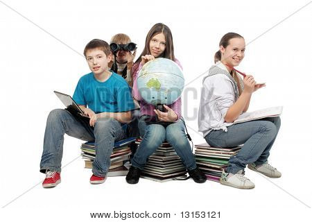 Educational theme: group of emotional teenagers sitting together.