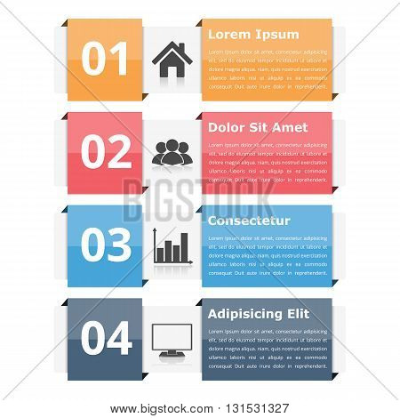 Infographic objects with numbers icons and text, infographic design elements for workflow, flowchart, steps or options, vector eps10 illustration