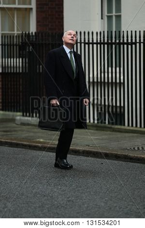 LONDON, UK - FEBRUARY 2, 2016: Iain Duncan Smith MP seen at Downing Street in London
