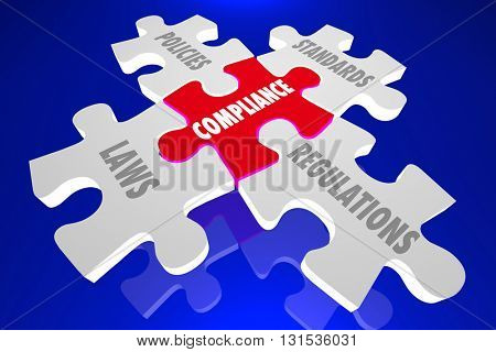 Compliance Laws Policies Regulations Puzzle Words 3d Illustration poster