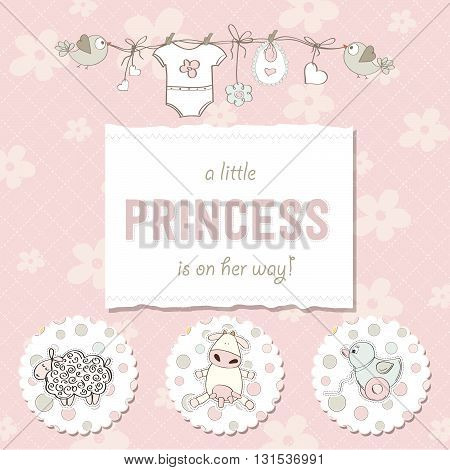 shabby chic baby girl shower card vector illustration poster